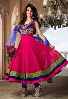 Pink Net Readymade Anarkali Churidar Kameez