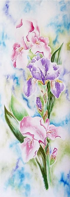 """""""Spring Irises"""" watercolor on paper ~(not my work) ~  For an art project during high school, I sketched out my version of one of Mom's irises - did it in watercolors on soft cardstock and made it her Mother's Day card for that year (1972). She passed away in 2012 and in going through the household things, I found she had kept it all those years!  I have it now. (I miss you, Mom!) ~ kj ~"""