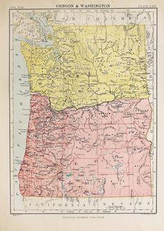 Old Oregon Map Washington State Map Vintage WA Map OR - Map of the state of washington usa