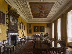 The Dining Room at Hanbury Hall in Hanbury, Worcestershire, England. Ceiling painting by Sir James Thornhill (b.1675/76 - d.1734) depicting Apollo abducting a nymph, possibly Cyrene.