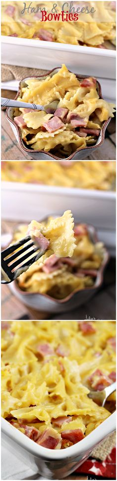 Ham & Cheese Bowties ~ Comforting Casserole Loaded with Pasta, Ham and Cheese!