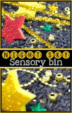 This night sky sensory bin complete with the black base and super sparkly stars was so fun to explore