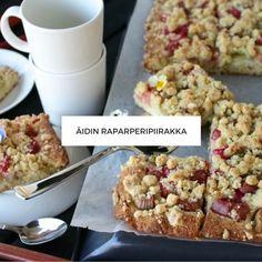 Raparperipiirakka Vegan Cake, Vegan Desserts, Pie Recipes, Vegan Recipes, Coffee Bread, Vegan Gains, Sweet Pie, Bread Cake, Delish
