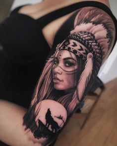 Amazing and Best Arm Tattoo Design Ideas For 2019 Part arm tattoo ideas; arm tattoo for girls; arm tattoos for girls; arm tattoos for women; Indian Women Tattoo, Native Indian Tattoos, Indian Girl Tattoos, Indian Tattoo Design, Native American Tattoos, Arm Tattoos For Women, Chicano Tattoos, Leg Tattoos, Body Art Tattoos