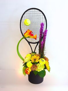 Tennis themed Birthday flower arrangement. Designed by Steven Bowles Creative, Naples FL, florist and events. www.stevenbowlescreative.com