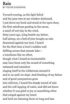 """Poems ©: """"Rain"""" - a poem by Peter Everwine. Pretty Words, Beautiful Words, Poetry Foundation, Stefan Zweig, Poem A Day, Powerful Words, Powerful Quotes, Meaning Of Life, Poem Quotes"""