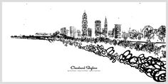 Cleveland Skyline via Type City Cleveland.  Erin Pilawski.  Cocktail Shaker typeface.