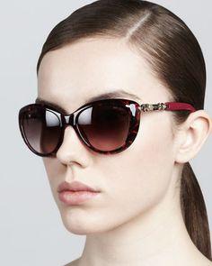4c5a81655525 Wigmore Cat-Eye Chain-Arm Sunglasses, Havana Pink by Jimmy Choo at Bergdorf