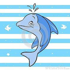 Blue dolphin cartoon illustration  animal character background strips