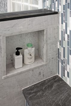 shower niche in wall where it can't be seen outside the tub...important!