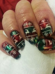 """My """"ugly Sweater"""" Nails Stamped with MoYou festive Collection 06.... Please like and repin I NEED the new plates. Thank You"""
