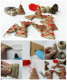 Come fare alberelli con lo spago #christmas #handmade #diy #tutorial