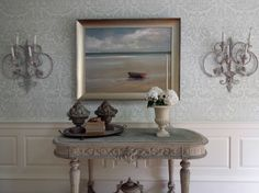 farrow and ball wallpaper and tole sconces