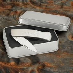 Personalized stainless steel lock back pocket knife. This rugged pocket knife comes in a stylish gift box and will make great wedding gifts for your groomsmen,ushers  or the best man.