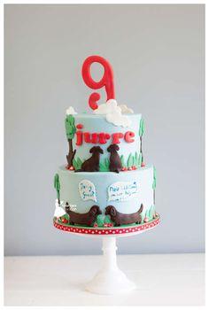 Taartjes-van-An-kindertaart-nunspeet-taart-nunspeet-taart-doornspijk-teckeltaart-hondentaart-dachshund-taart-taart-elburg-taart-hulshorst birthdaycake boy birthday cake boy dogcake dos themed cake teckelcake dachshundcake