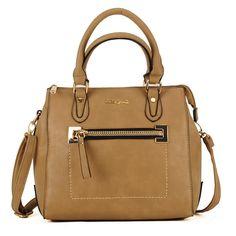Brown Sally Young Tan Shoulder Handbag, Faux Suede Tote Bag Zip & Long Strap in Clothes, Shoes & Accessories, Women's Handbags   eBay