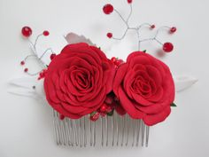 Red wedding Floral red white Woodland wedding Trend hair comb Prom Decorations for prom Gift of the colleges Spring decorations Realistic #Etsy #Share #AyuJewelryShare #EtsyShop #MSMTeam