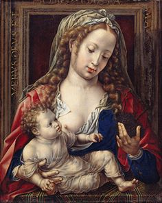 Jan Mabuse was the name adopted (from his birthplace, Maubeuge) by painter Jan Gossaert; or Jennyn van Hennegouwe (Hainaut) (Flemish artist, Madonna Mother Mary, Mother And Child, Jan Gossaert, Breastfeeding Art, Child Nursing, Mama Mary, European Paintings, Madonna And Child, Renaissance