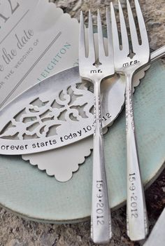 Mr. & Mrs. WEDDING Cake forks with Forever Starts Today (TM) Personalized Vintage Wedding Cake Server - Hand Stamped SET. $80.00, via Etsy.