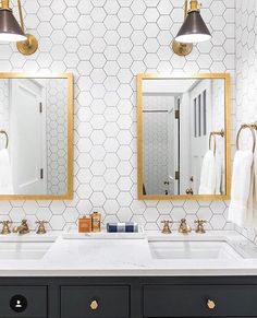 """550 Likes, 16 Comments - Lindye Galloway (@lindyegalloway) on Instagram: """"Simply cannot get enough of this bathroom via @caitlinwilsondesign! The hex + brass combo with the…"""""""
