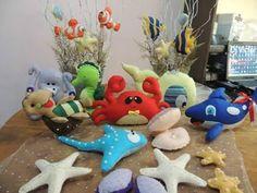 arraia, baleia, cavalo marinho, concha, estrela do mar, feltro, fundo do mar em feltro, peixe feltro, polvo, siri, tartaruga, tubarão