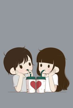 Cute couple cartoon =^.^= KAWAII =^.^= Cute couple