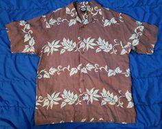 Tommy Bahama Linen Hawaiian Shirt Mens M Tropical Aloha Bahama Shirt #TommyBahama #Hawaiian