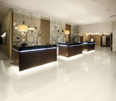 A very stylish hotel reception area - the polished porcelain tiles are a highlight!