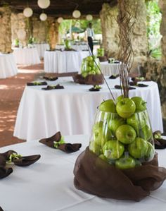 Green Apple Centerpiece...For a wedding maybe provide burlap bags to take home some of the apples from the centerpieces?