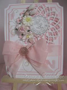card by Christina Griffiths.   Uses two Lotus die cuts in two colours.   Pretty!