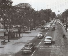 the beach strip connected to the QEW before the skyway bridge. Hamilton Ontario Canada, Dundas Ontario, Site History, Burlington Ontario, Hamilton Beach, Time Photo, Old Pictures, Wonderful Places, Vintage Postcards