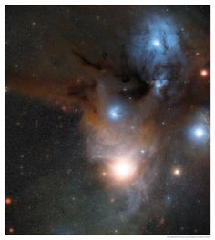 """A wide-field view of the star-forming region Rho Ophiuchi, which also contains two large, Class-B subgiant stars, classified ρ Oph A and ρ Oph B. It doesn't appear as bright as it could be, though, due to being enclosed in the dark nebula of the Rho Ophiuchi cloud complex.  Use the code """"VP20"""" during checkout at www.vintprint.com for 20% off all orders!"""