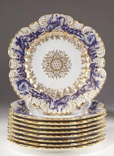 Set of Nine Coalport Fish Plates, circa 1889 : Lot 510 Antique Dishes, Vintage Dishes, Vintage China, Vintage Plates, Objets Antiques, Fish Plate, China Plates, Nagel Gel, China Patterns