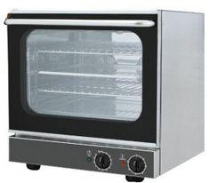 Forno elettrico a convezione 4 teglie dim. GN 2/3  Interno ed esterno in acciaio inox Dimensioni esterne: 557x585xh.568 mm  Campo di regolazione del termostato: 10 - 280 ° C  Campo di regolazione Timer: 1 - 120 ' Capacità di carico 4 teglie dim. GN 2/3 Montato di serie: 1 cassetto e 1 griglia