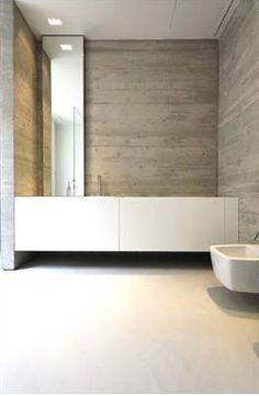 LOVE the asymmetry of the sink placement, mirror and light hanging location! — KMVT