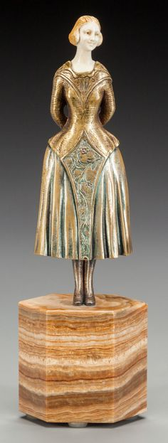 French Bronze and Ivory Figure on Marble Base after Chiparus, circa 1920