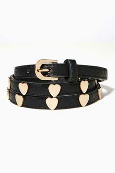 Golden Heart Skinny Belt