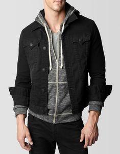 $228, Black Denim Jacket: True Religion Danny Denim Jacket. Sold by True Religion. Click for more info: https://lookastic.com/men/shop_items/91489/redirect