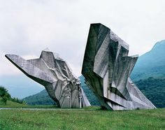 Tjentište/ abandoned Yugoslavia mouments/ commissioned by Yugoslavian president Josip Broz Tito in the 1960s and 70s to commemorate sites where WWII battles took place. Designed by sculptors and architects to convey Socialist Republic.