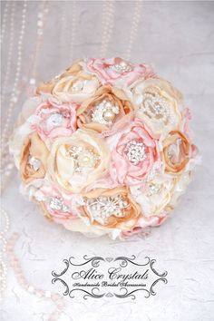 Items similar to Brooch textile bouquet. gold, ivory, pink and lace bouquet, Blush Bouquet. Fabric Bouquet, Broach Bouquet, Fabric Flower Brooch, Blush Bouquet, Flower Bouquet Wedding, Bridesmaid Bouquet, 40s Wedding, Wedding 2015, Wedding Things