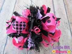 Pink and Black Dots Boutique Funky Bow by LittleBitBows on Etsy