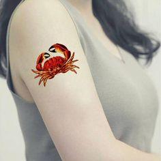 Temporary tattoo Red Crab / Symbol of Reinassance Rebirth /