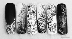 Fails art black and white flower Ideas - minta - Nageldesign Nails & Co, 3d Nails, Nail Manicure, Acrylic Nails, Really Cute Nails, Pretty Nails, Black White Nails, Nailart, Painted Nail Art