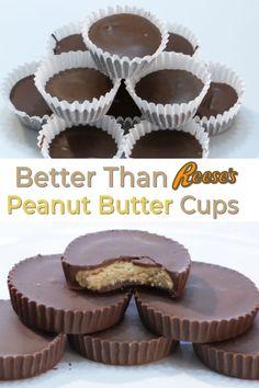 Homemade Peanut Butter Cups, Chocolate Peanut Butter Cups, Peanut Butter Recipes, Homemade Candies, Peanut Butter Cup Filling Recipe, Homemade Reeses Cups, Reese Cup, Homemade Chocolate, Yummy Recipes