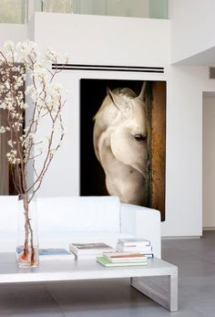 Horses are breathtakingly beautiful. The right side of the picture (wood) matches the cabin.