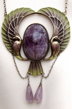 Plique-a-jour enamel Epyptian Revival necklace dating from the 1920s.