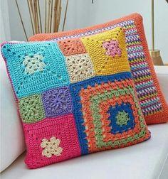 Basketweave Tunisian Crochet Pillow - Page 16 of 35 - apronbasket . Crochet Pillow Cases, Crochet Cushion Cover, Crochet Pillow Pattern, Crochet Square Patterns, Crochet Cushions, Crochet Squares, Crochet Motif, Crochet Designs, Free Crochet