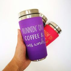 Coffee and cuss words! A typical day for some. Personalized Travel Mugs, Custom Travel Mugs, Personalized Birthday Gifts, Insulated Coffee Cups, Insulated Travel Mugs, Travel Coffee Cup, Travel Cup, Tea Mugs, Coffee Mugs