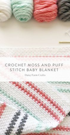 Free Pattern - Crochet Moss and Puff Stitch Baby Blanket