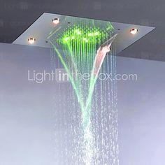 Bad regen und Wasserfall Duschkopf / Edelstahl 304 / Strom Energieeinsparung abwechselnd LED-Lampen enthalten - EUR €331.01